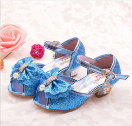 romance flowers Coupons - Girls high heel sandals 2019 new summer ice romance princess shoes little girl fish mouth crystal shoes children cool