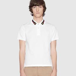 maglietta del colletto mens Sconti Polo in cotone tinta unita 19ss con ricamo web e bee da uomo polo colletto polo magliette uomo tshirt da abbigliamento Poloshirt