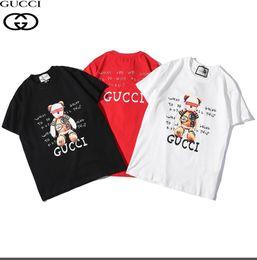 6768d8b71a Estate calda 2019 del progettista di lusso del fumetto orso del fumetto T- shirt bianco nero rosso monogrammato s-xxl