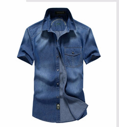 4ba0718339f Newest Summer Men s Fashion Denim Shirts Man Short Sleeve Navy Blue Plus  Size XXXL 4XL Jeans Shirt