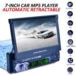 """mini rádio usb remoto Desconto 1 DIN 7 """"HD Auto Tela Retrátil bluetooth Car Radio Stereo Player Multimídia Navegação GPS Controle Remoto + Câmera Retrovisor"""