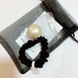 Palla di corda online-3CM Super buona qualità C lettera corda dei capelli con francobolli, fatti a mano grande perla capelli anello testa corda capelli testa a sfera fascia di gomma copricapo regalo del partito