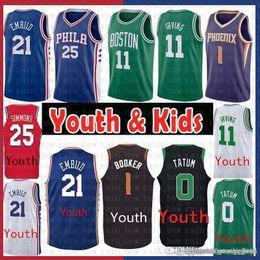 9b83d00fa  9.99 Youth Kids Boston Kyrie 11 Irving Celtics Jayson 0 Tatum Jersey  Phoenix Booker 1 Suns Ben 25 Simmons Philadelphia Joel 21 Embiid 76ers