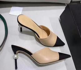 Pantofole in pelle per donna con tacco alto e perlato, sandali neri beige, tacco nudo, décolleté con tacchi, scarpe con prom dress, spedizione gratuita da grandi perline blu fornitori