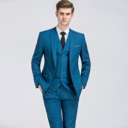 best quality suits for men Coupons - Men Wedding Suits 2019 Fashion Style Three-piece Suit for Best Man and Groom Wedding Dress High Quality