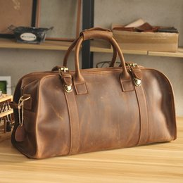 Luxury Pure Handmade Crazy Horse Leather Travel Totes Casual Handbag Vintage  Perfect Quality Genuine Leather Men s Travel Bags 1434104c4c997