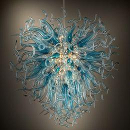 douille de lampe à suspension Promotion 100% verre soufflé italien Lustres fleurs lumières en verre de Murano en cristal moderne Pendentif lumière LED E27 chaîne Lustre pendentif Lampes