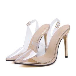 2018 Sandalias de mujer Slip on Wedding Lady Thin Heels Transparente Punta estrecha Princesa Style Slingback Sexy Summer Dress Shoes Gold desde fabricantes
