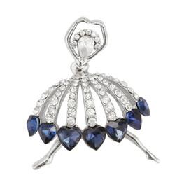 Spille di balletto di cristallo online-New Fashion Women Blue Purple Crystal Ballet Dancing Girl Spille Pins Gioielli