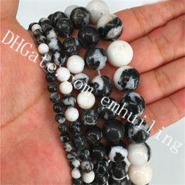 contas brancas de jaspe Desconto 4mm 6mm 8mm 10mm 12mm Natural Gemstone Beads Jóias DIY Achados Liso Branco Preto Zebra Jasper Beads Pedra Redonda Spacer Beads 5 Fios