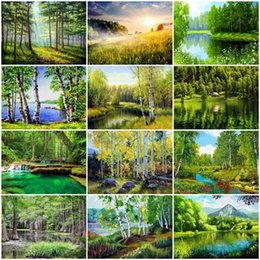 diamond sticker painting Coupons - Diy Full Round Diamond 5d Diy Diamond Painting Spring Forest Landscape Embroidery Cross Stitch Rhinestone Mosaic Wall Stickers