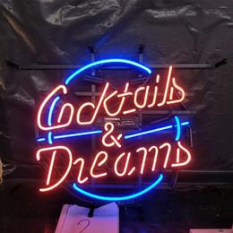 sinais de néon dos sonhos dos cocktail Desconto Coquetéis e Sonhos Neon Sign Light Publicidade Bar Entertainment Club Decoração Art Display Lâmpada de Vidro Armação de Metal 17 '' 24 '' 30''40 ''