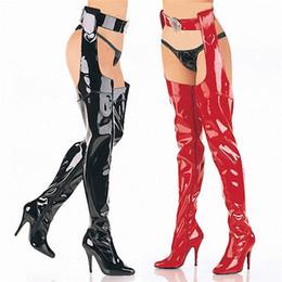 2019 muslo bota alta 46 Tallas grandes 34-46 Zapatos de fetiche de discoteca de charol Mujer Moda Sexy Tacones altos extremos Sobre la rodilla Cintura Muslo Botas altas rebajas muslo bota alta 46