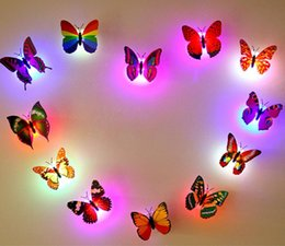 Wholesale Creative LED Simulation Light Butterfly peut coller Night Lights collant Night Light Butterfly Fibre Light Butterfly