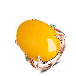 anéis de pedra em ouro para meninas Desconto Rose gold Cor Grande pedra Imitação de cera de abelha anéis de Casamento Elegante festa de jóias para as mulheres Meninas Anel de dedo de Abertura Atacado
