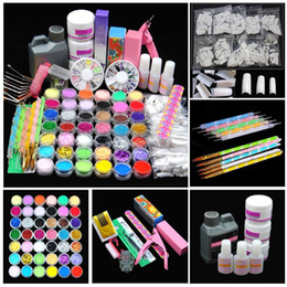 set di punte set nail art acrilico Sconti Kit acrilico Pro Acrylic Power Kit acrilico Tips Cutter Glitter Strass Pennello per lime Manicure Nail Art Set di strumenti Kit gel