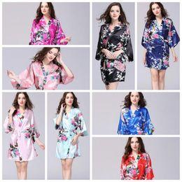 Donne che indossano kimono giapponese online-12 colori delle donne sexy giapponese di seta kimono robe pigiama camicia da notte pigiameria fiore rotto kimono biancheria intima abbigliamento casa cca10956 12 pz
