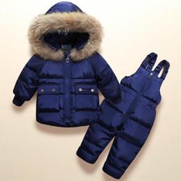 crianças vestindo roupas quentes Desconto 2019 Crianças Inverno Conjuntos de Roupas Meninas Quente Pato Para Baixo Casaco para o Bebê Roupas de Menina Casaco infantil para o Menino Neve Desgaste Crianças