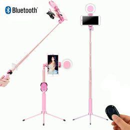 2019 espelhos self stick Selfie vara LED Anel luz extensível 1.7m tripé vivo Stand 4 em 1 com Monopod Telefone Mount para ios smartphones Android