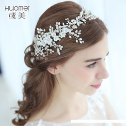 bolos de casamento de ouro branco preto Desconto D2185 NPASON noiva pérola Headwear Diretamente Marry Faixa de Cabelo vestido de casamento acessórios enfeites manuais