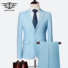 esmoquin azul cielo Rebajas Plyesxale Traje de dos piezas Azul cielo Gris Blanco Hombres para boda Esmoquin Slim Fit trajes para hombre con pantalones Borgoña Q64 C19041601
