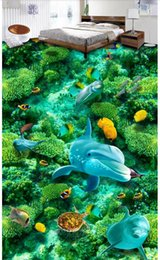 photo sticker wall Coupons - 3d pvc flooring custom photo wall sticker Undersea world seaweed dolphins Self-adhesive floor home decor living room wallpaper for walls 3 d