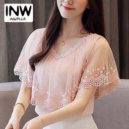 Yeni Varış Dantel Kadınlar 2019 Kore Şifon Bluz Gömlek Tops Yaz Kısa Kollu Femme Gömlek Fırfır Patchwork Pembe Blusas Tops supplier pink ruffle blouse top nereden pembe ruffle bluz üst tedarikçiler