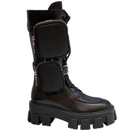 botas de lentejuelas negro de las mujeres Rebajas Botas de combate de las mujeres Negro zapatos de mujer de tacón grueso botas de becerro de alta Botines Mujer ata para arriba manera de las mujeres del cuero de zapatos