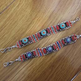 Wholesale BR045 Braccialetti tibetani etnici del polsino per le donne rame intarsiato braccialetto di pietra variopinta del braccialetto Gioielli India Nepal