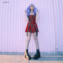 Nueva Red Mujeres Mini Vestido Sin Mangas De Estilo Gótico Honda Salvaje Sin Mangas Dress2019 Hot Spring Venta Del Otoño Vestido De Niña De Nuevo De