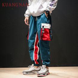 Roupa japonesa do hip hop on-line-KUANGNAN Azul Carga Calças Dos Homens Corredores Hip Hop Patchwork Carga Calças Roupas Masculinas 2018 Streetwear Japonês Ocasional XXXXL