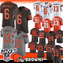 trikot 27 Rabatt 6 Baker Mayfield Cleveland 13 Odell Beckham Jr Browns Jersey 80 Jarvis Landry 95 Myles Garrett Nick Chubb Ward Joe Thomas Browns 80 21 27 95