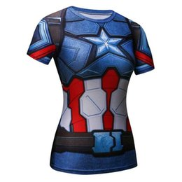 Batman camisa mujer online-Fitness Yoga Top Superman Batman Spiderman Camisa de compresión para mujer Gimnasios Camiseta de compresión Mujer Fitness Medias Yoga # 556574