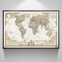 Офис зеленых стен онлайн-Урожай Карта Мира Канцтовары Подробная Античная Плакат Настенная Диаграмма Ретро Бумага Матовая Крафт-Бумага 28 * 18 дюймов Карта Мира