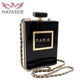2019 saco da praia do ouro das senhoras NATASSIE Mulheres Sacos de Embreagem Acrílico Embreagens Sacos de Festa de Moda Senhoras Designer de Perfume Garrafa Forma Bolsas