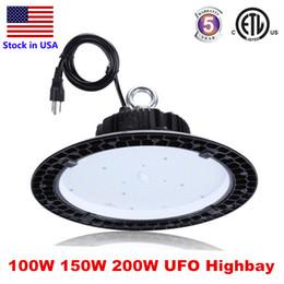 luzes industriais Desconto ETL 5 anos de garantia UFO LED de alta Bay Luzes 100W 150W LED de 200W industrial iluminação LED exposição armazém de iluminação da lâmpada Highbay Luz