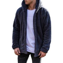 Sudadera con capucha de piel online-Sólido Hoodies Men 2019 Chaqueta de invierno Moda de los hombres gruesos con capucha sudadera masculina Warm Fur Liner Sportswear Chándales para hombre abrigo