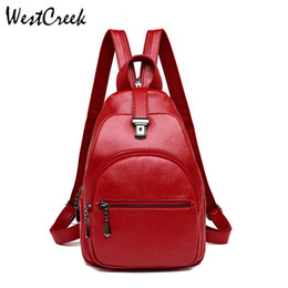 Сумки для девочек для ноутбука онлайн-WESTCREEK  PU Leather Small Backpack Women College Bag for Girls Anti-theft Multi Function Laptop Travel Daypack Backpacks