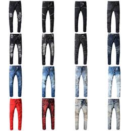 Jeans estilo rock para hombre online-Diseñador de la marca Jeans Rock Renaissance Jeans The United States Street Style Boys Hole Jeans bordados Hombres Mujeres Moda Hot Size 28-42