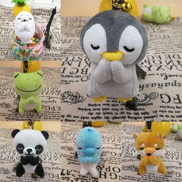 Peluche roba animale online-Nuovi 6 stili 8 centimetri bambola creativa rana panda pinguino bambola animali di pezza che desiderano giocattoli peluche ciondolo catena chiave giocattoli per bambini 3132