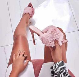 Sandálias européias on-line-Estação europeia sandálias doce cor de pele de coelho de luxo sandálias de salto alto chinelos comércio exterior tamanho grande sapatos femininos 41-43