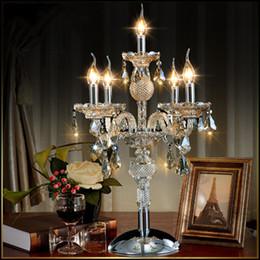 lampara de mesa led vela Rebajas Moda europea 5 luces vela de cristal lámpara de mesa dormitorio lámpara color cognic E14 E12 K9 cristal deak Table light home Wedding decor