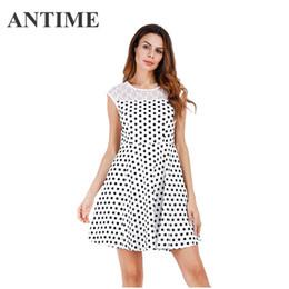 57df4985e29e ANTIME mini abiti a pois o collo casual femminile elegante senza maniche un  pizzo linea bella dolce breve nuovo vestito elegante belli vestiti eleganti  ...