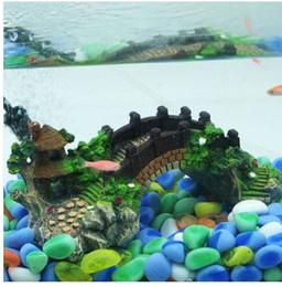 2019 décorations de pont les ventes chaudes!!! En gros livraison gratuite 2019 Aquarium Résine Pont Paysage Fish Tank Ornements Pavillon Arbre Décoration décorations de pont pas cher