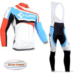 2018 CUBE Men Pro Team Winter Thermal Fleece Cycling long Sleeves Jersey  bib pants sets Bicycle Clothing accept mix size 1610L 384359d68