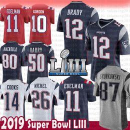 2019 87 jersey New Patriots 12 Tom Brady 87 Maglia Rob Gronkowski 11 Julian Edelman 26 Sony Michel 50 Uomini Keal Harry 10 Josh Gordon 14 Brandin Cooks