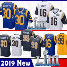 Wholesale caliente St louis Jared Goff Todd Gurley II Rams Jersey Super Bowl LIII Aaron Donald Jersey Azul marino Blanco Color Rush