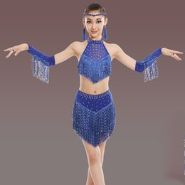 belly dance tassels Coupons - Children Girls Latin Dance Wear Stage Latin Sequin Costumes Fashion tassel Dresses