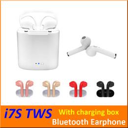спортивный s9 bluetooth наушники микрофон Скидка I7S TWS Беспроводные Bluetooth-наушники Наушники-вкладыши Наушники с зарядной коробкой Близнецы Мини-Bluetooth Наушники для iPhone X IOS Android + Розничная коробка