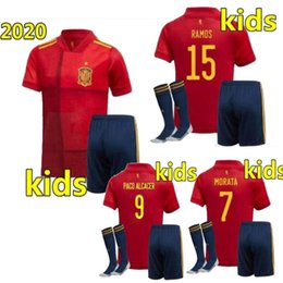 camicia gioventù  Sconti Dimensione 16-28 2020 Spagna Kit Kit Kit Europeo Coppa A.Iniesta Ramos Home Away Soocer Jersey Sergio Isco Youth Camiseta de fútbol Camicia calcio 2020